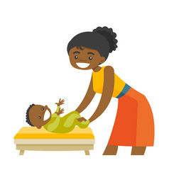 Young african-american mother taking care of baby vector