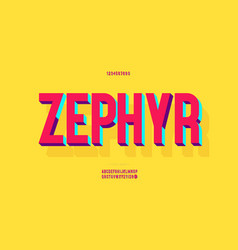 Zephyr font 3d bold colorful style vector