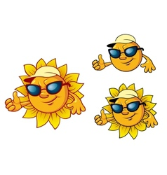 Cartoon style sun character vector image vector image