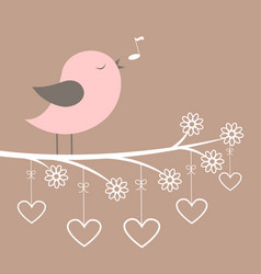 cute pink bird sing with lacy flowers and hearts vector image vector image