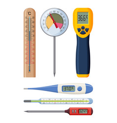 set of realistic thermometers for different needs vector image