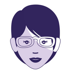 beautiful and young woman with glasses character vector image