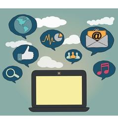 Hand-drawn concept of social media vector image