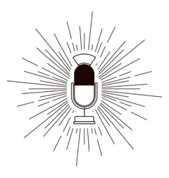 old microphone poster isolated icon design vector image vector image