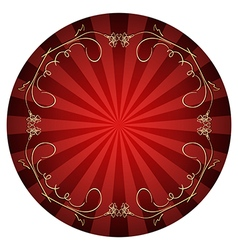 Red background with gold curly frame vector