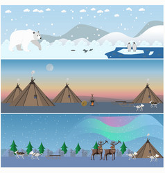 set of wild north landscape posters in flat vector image