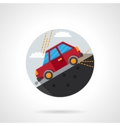 Car on a slope round flat color icon vector image