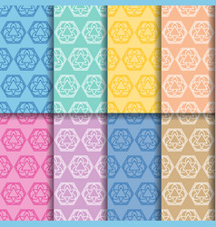 ornament seamless patterns colored set vector image