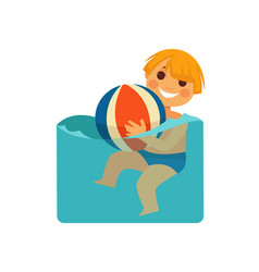 Smiling little boy with colorful ball in water vector