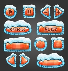 Winter cartoon orange buttons with snow vector image vector image