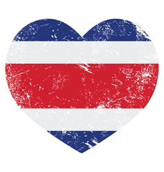 Costa Rica retro heart shaped flag vector image vector image