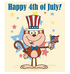 happy monkey cartoon character with american flag vector image