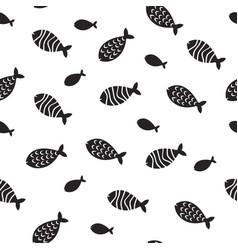 swimming fish seamless pattern small vector image vector image