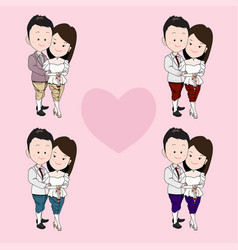 a couple in thai traditional wedding dress bride vector image