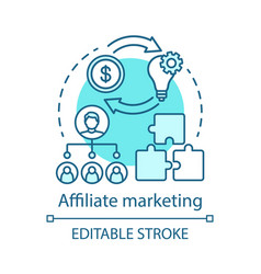 Affiliate marketing blue concept icon digital vector
