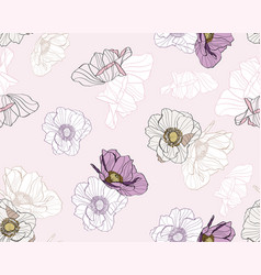 Anemone seamless pattern line colored flowers vector