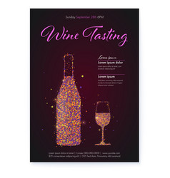 banner for wine tasting events color glittering vector image