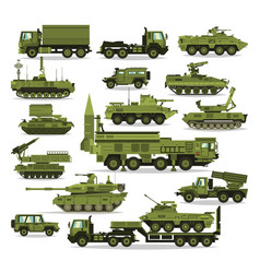 Big set military equipment heavy reservations vector