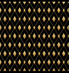 black and gold diamond seamless pattern vector image