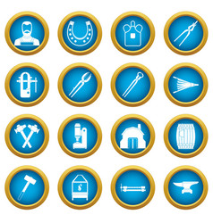 blacksmith icons blue circle set vector image