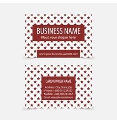 Business cards with red christmas stars vector image
