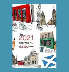 Calendar cover edinburgh scotland 2021 year vector