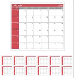 calendar planner 2019 year simple minimal design vector image