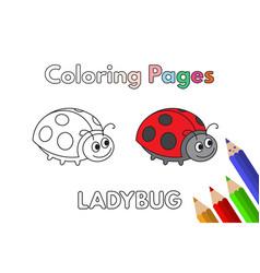 Cartoon ladybug coloring book vector