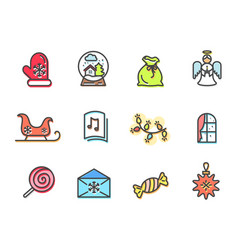 christmas collection of icons vector image