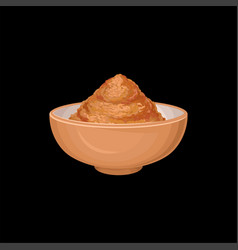 Cinnamon powder in ceramic bowl fragrant spice vector