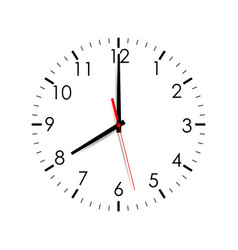 Clock face isolated on white background 8 oclock vector