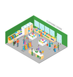 Clothing store interior with furniture isometric vector