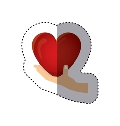 Colorful sticker of hand holding a heart vector