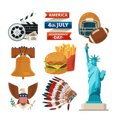 Culture objects of americans usa vector