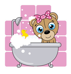 cute cartoon bear in the bathroom vector image