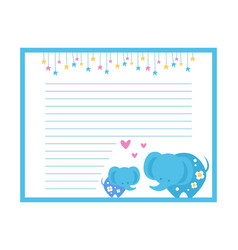 cute paper page with elephants lined sheet vector image