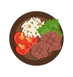 Delicious menu with meatsaladrice and tomatoes vector