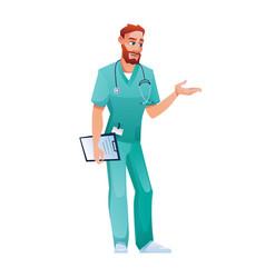 Doctor with folder speak and gestures practitioner vector