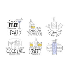 drinks free hand drawn retro labels set happy vector image