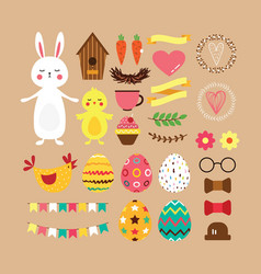 Easter set of elements in flat design vector