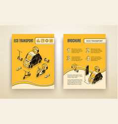 eco transport isometric banner and brocure set vector image