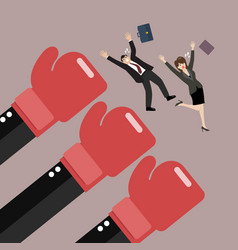 employees punched by boss big hands vector image vector image