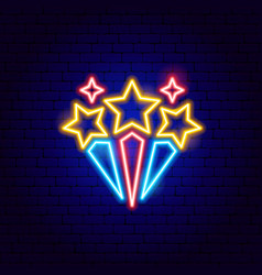 fireworks star neon sign vector image