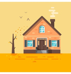 flat style of house in autumn vector image