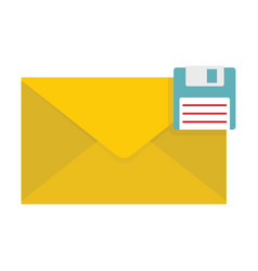 Flat yellow mail letter icon vector