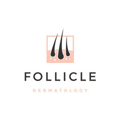 follicle hair dermatology logo icon vector image