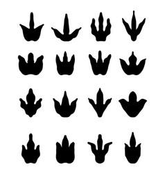 Footprints of dinosaurs vector