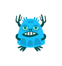 funny blue cartoon monster fabulous incredible vector image