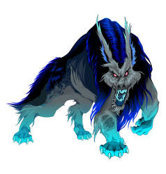 Furious werewolf with black and blue mane vector