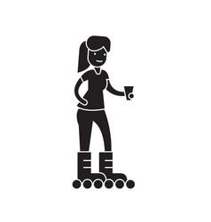 girl roller skating black concept icon vector image